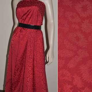 Жаккард красный с рваными кольцами ш.150