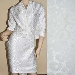 Жаккард костюмный белый с рваными кольцами ш.150