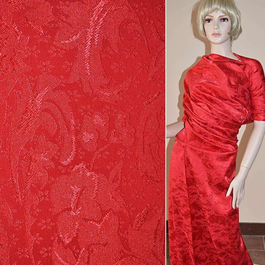 Жаккард красный в абстрактный рисунок ш.150