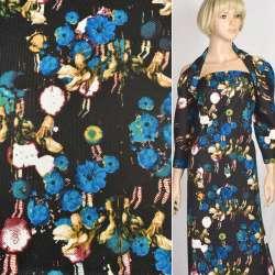 Рогожка черная в синие и бежевые цветы, ш.150