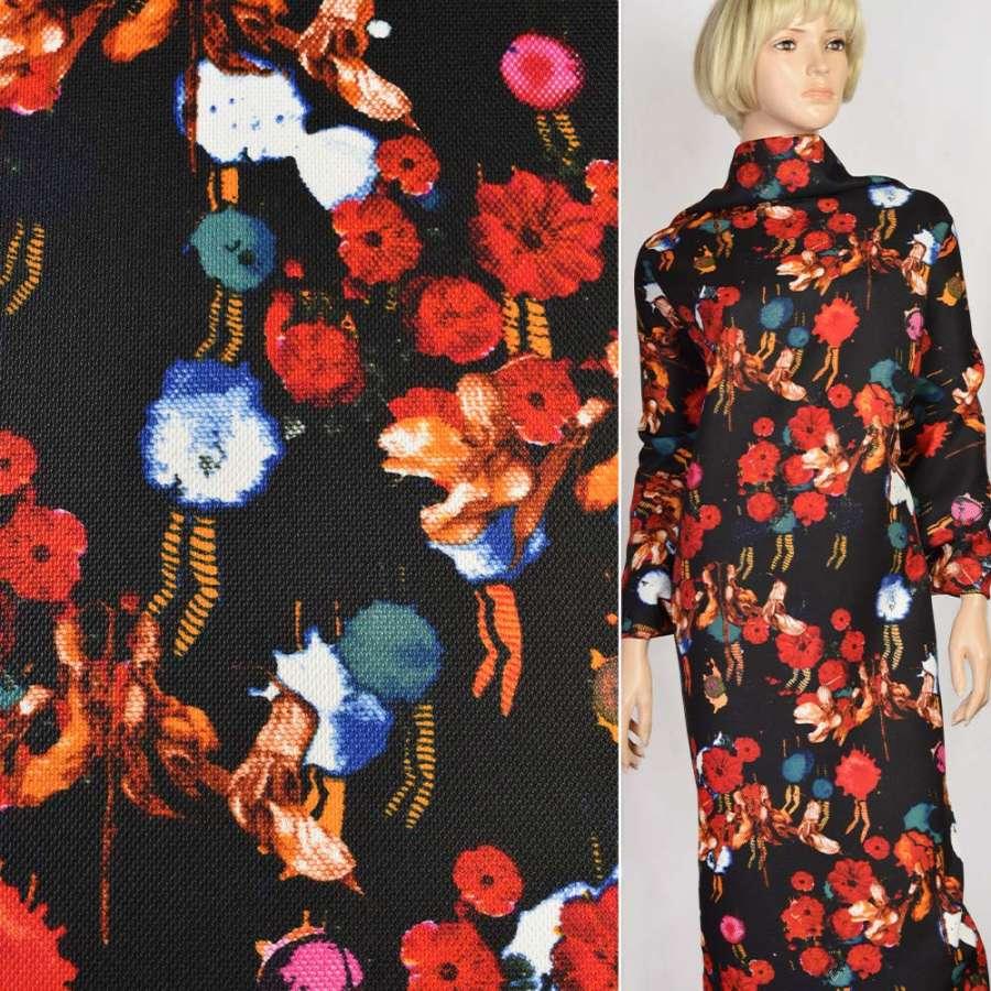 Рогожка черная в красные и оранжевые цветы, ш.150