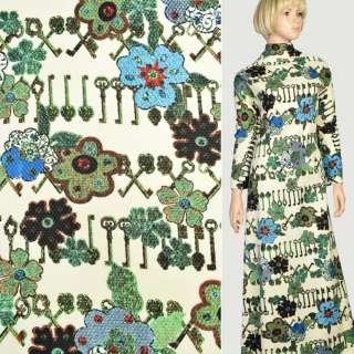 Рогожка соты кремовая в коричневые ключи и зеленые цветы, ш.150