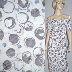 Ткань жаккардовая белая в серо-голубые овалы ш.130