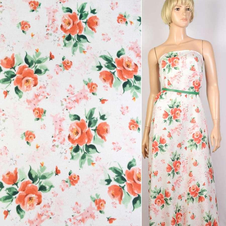 Лен-рогожка белая в красно-оранжевые розы ш.140