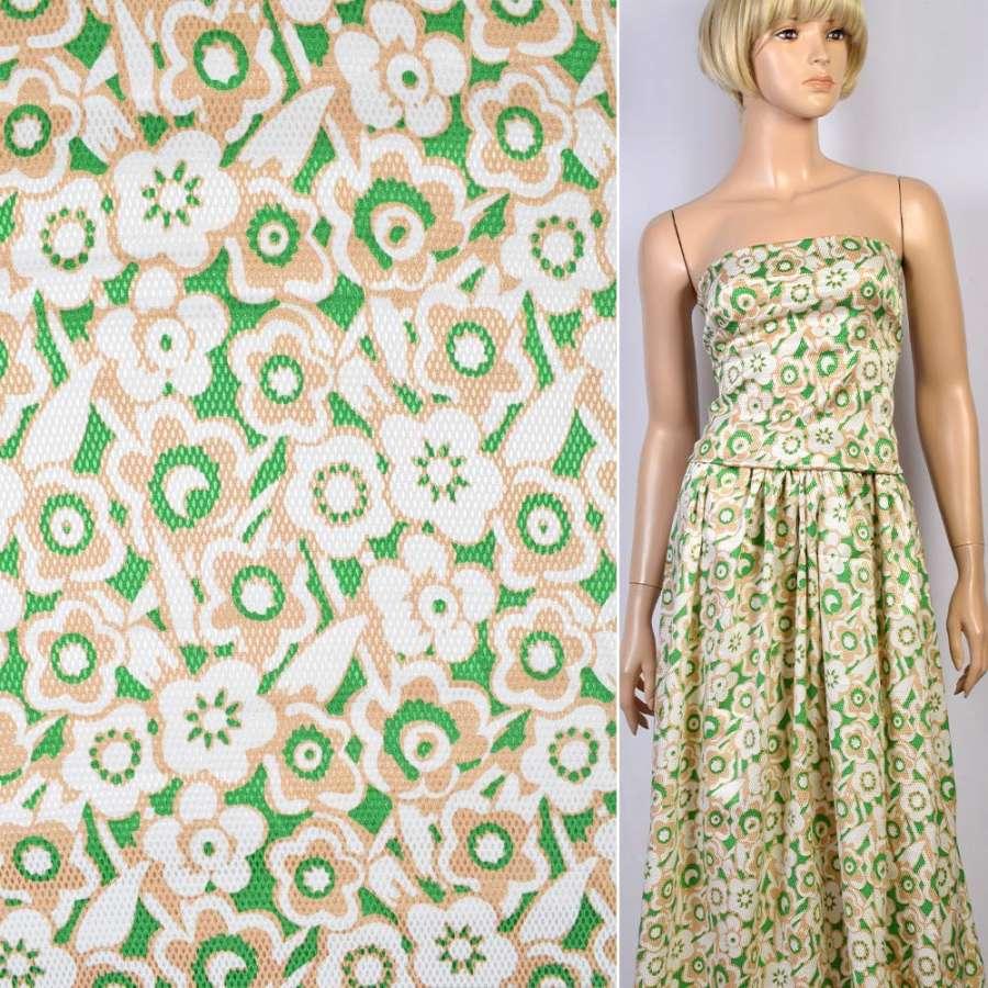 Жаккард стрейч зеленый в в бежево-белые цветы ш.137