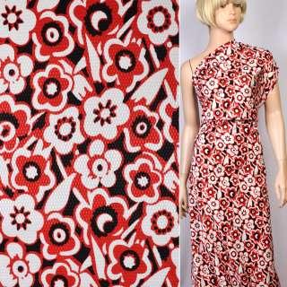 Жаккард стрейч черный в красно-белые цветы ш.130