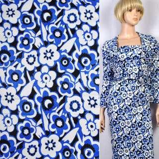 Жаккард стрейч черный в бело-синие цветы ш.120