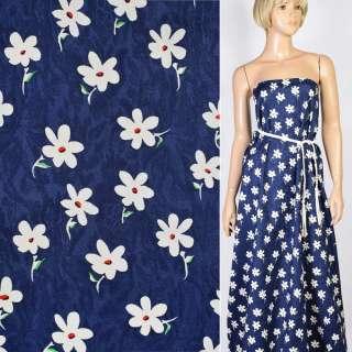 Жаккард синий в белые цветы, ш.147