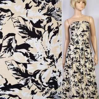 Коттон-жаккард стрейч бежевый в черно-белые цветы ш.145