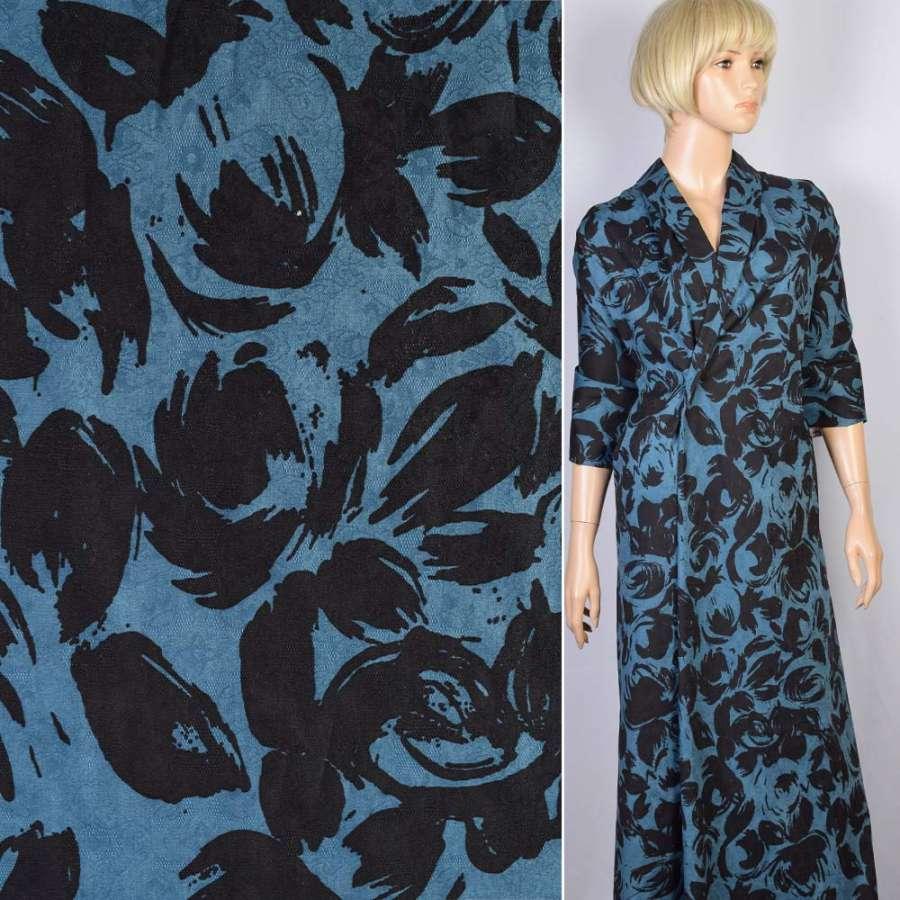 Коттон-жаккард стрейч синий в черные цветы-абстракцию ш.140