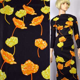 Коттон-жаккард стрейч черный в оранжево-желтые цветы ш.145