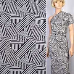 Коттон-жаккард стрейч белый в черные полосы в квадратах ш.155