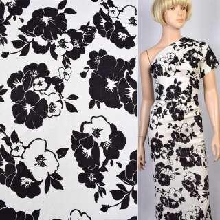 Коттон-жаккард стрейч білий в чорні квіти ш.150