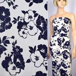 Коттон-жаккард стрейч белый в синие цветы ш.150