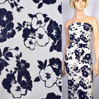 Коттон-жаккард стрейч білий в сині квіти ш.150