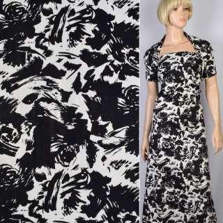 Коттон-жаккард стрейч белый в черный цветочную абстракцию ш.145