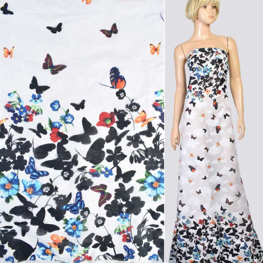 Коттон жаккард белый в голубые, черные цветы, бабочки, купон, ш.147