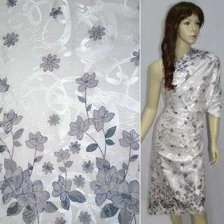 Жаккард белый, 2ст. купон в серые цветы ш.140