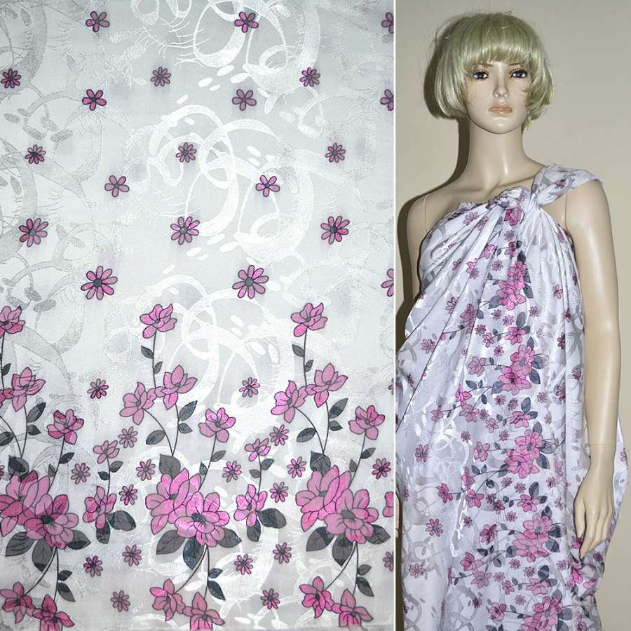 Жаккард белый, 2-ст. купон в розовые цветы ш.140