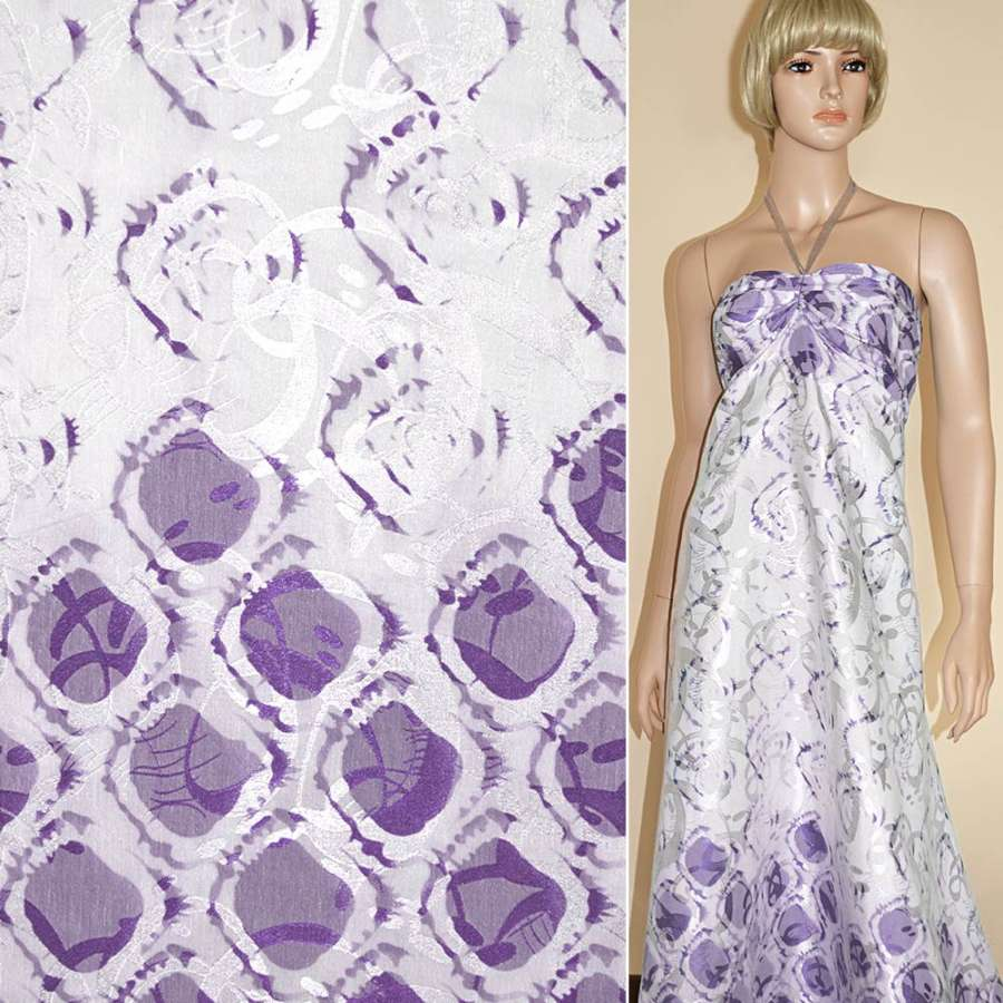 Жаккард белый, 2-ст. купон с фиолетовыми овалами ш.140