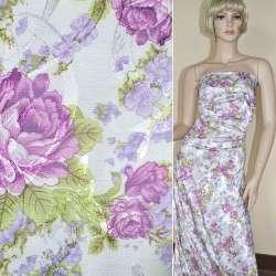 Жаккард белый в мелкие сиренево-фиолетовые цветы ш.145