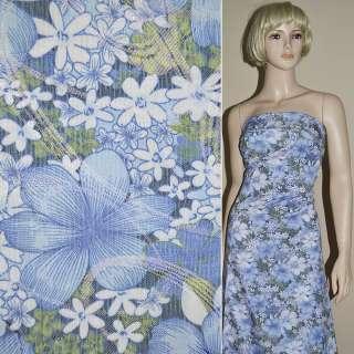 Жаккард костюмный в бело-голубые цветы с люрексом ш.130