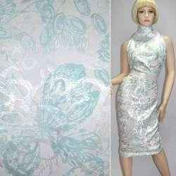 Жаккард костюмний білий з сріблясто-блакитним абстрактним малюнком ш.150
