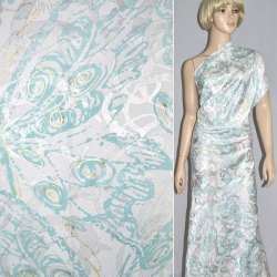 Жаккард костюмний білий з золотисто-блакитним абстрактним малюнком ш.150