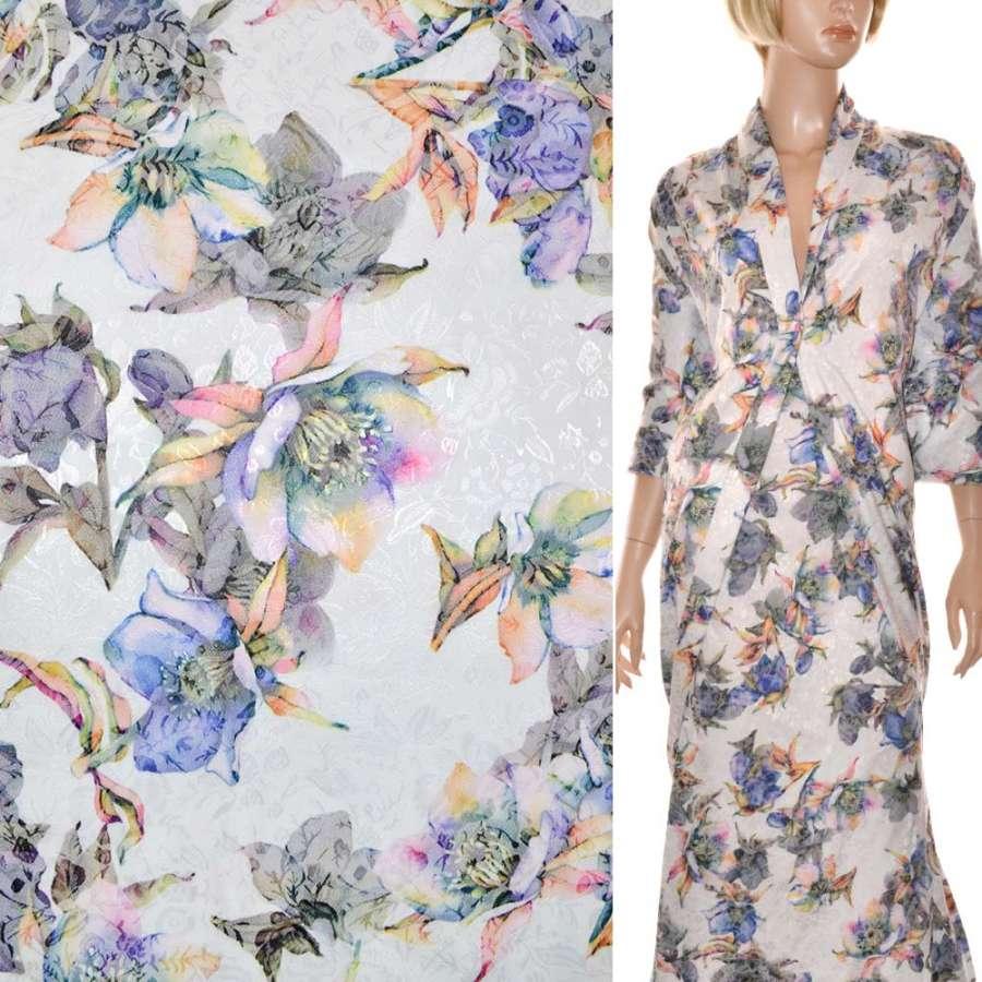 Жаккард стрейч белый с серо-фиолетовыми цветами ш.145