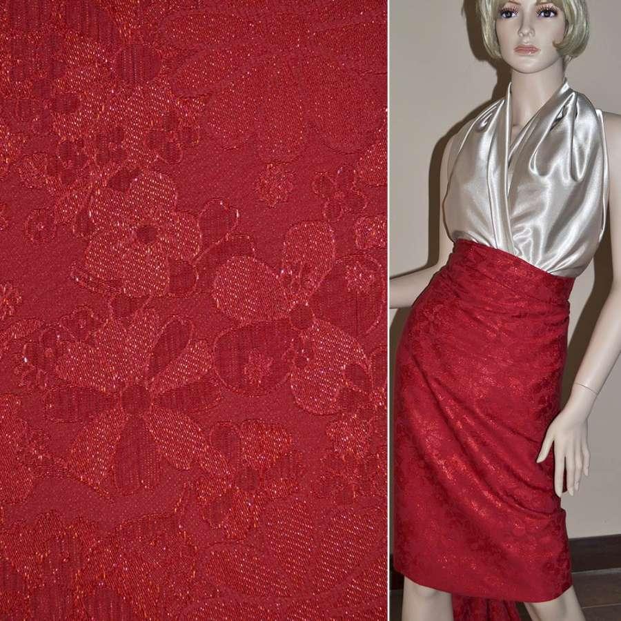 Жаккард костюмный красный с люрексом в ромашки, ш.150