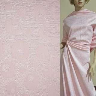 ткань кост. розовая с перелив. люрексом в круги, ш.150