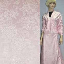 Жаккард костюмный розовый с цветным люрексом в розы и хризантемы, ш150