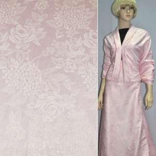 ткань кост. розовая с цв.люр.в розы и хризантемы, ш150