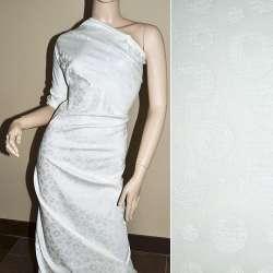 Жаккард костюмный белый с кругами и переливающимся люрексом, ш.150