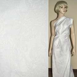 Жаккард костюмный белый с люрексом в розы и хризантемы, ш150