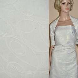Жаккард костюмный белый с серпантином и переливающимся люрексом, ш.150