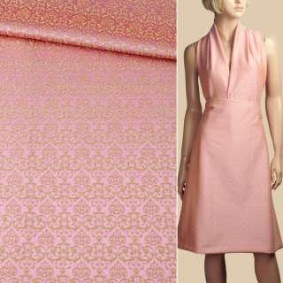 Жаккард стрейч бавовняний рожево-салатовий візерунок ш.133