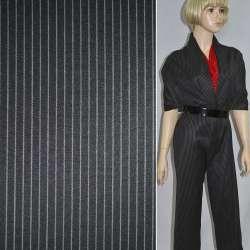 ткань кост.черная в светло-серую полоску шир.150 см