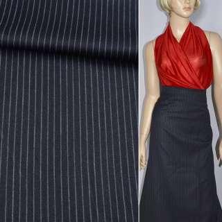 Тканина костюмна темно-синя в світло-сіру смужку ш.150