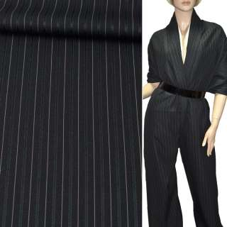 Тканина костюмна чорна в темно-сіру і бежеву вузьку смужку, ш.150