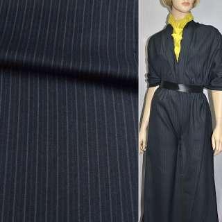 Тканина костюмна темно-синя в смужку, ш.150