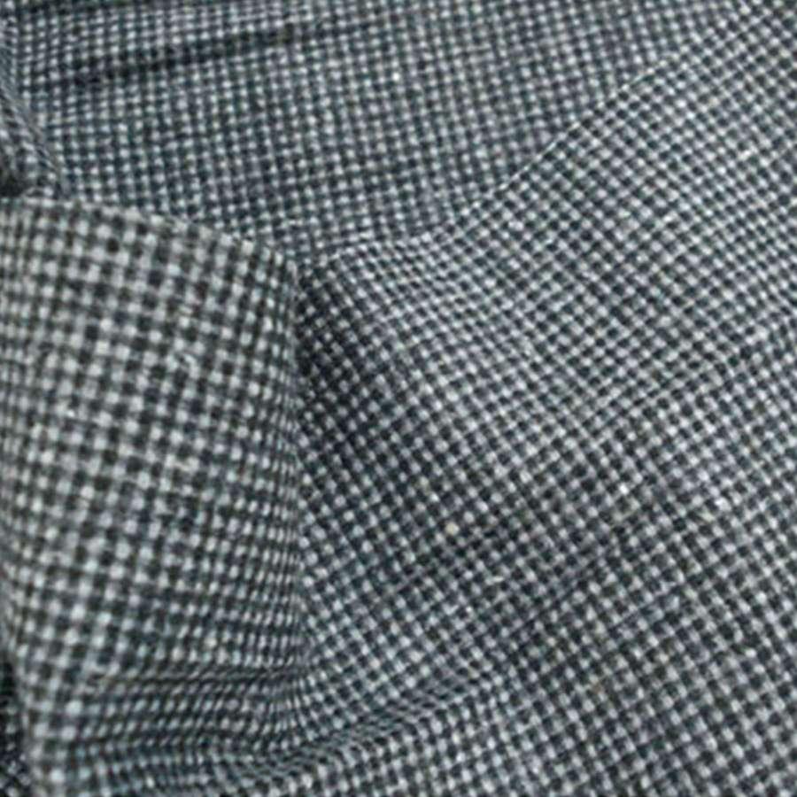 Ткань костюмная в мелкую серо-молочную клетку ш. 150