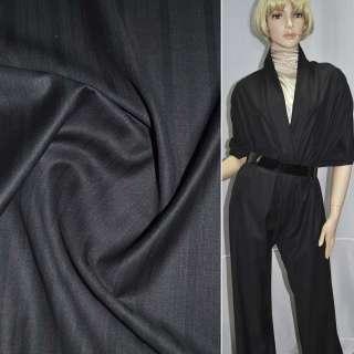 Тканина костюмна чорна в темно-бордову смужку, ш.155