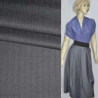 Тканина костюмна сіро-фіолетовий в вузьку смужку, ш.155