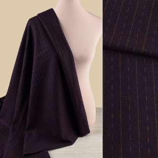 Ткань костюмная фиолетовая темная в оливковые штрихи и полоски, ш.150
