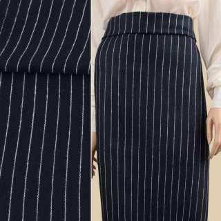 Ткань костюмная синяя темная в белую полоску 20мм ш.155