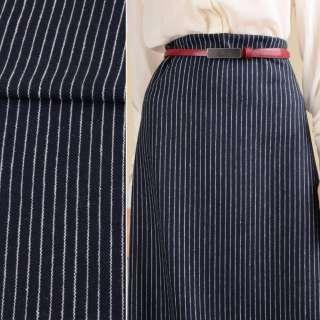 Ткань костюмная синяя темная в белую полоску 10мм ш.151