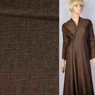 Лен коричнево-черный в структурные штрихи ш.145