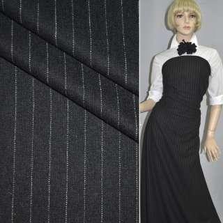 Ткань костюмная черная в узкую белую полоску, ш.150