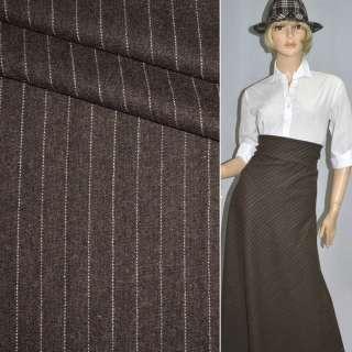 Ткань костюмная коричневая в узкую белую полоску, ш.150